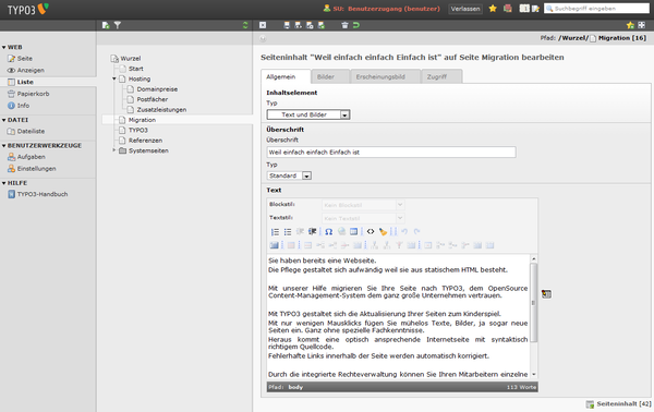 Screenshot TYPO3 Backend